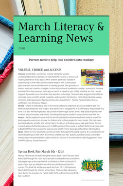 March Literacy & Learning News
