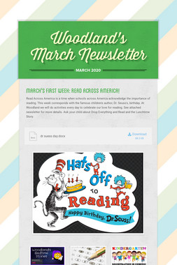 Woodland's March Newsletter