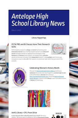 Antelope High School Library News