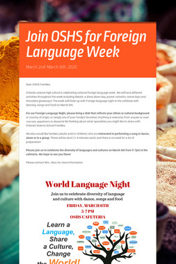 Join OSHS for Foreign Language Week