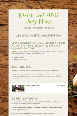 March 2nd, 2020 Pony News