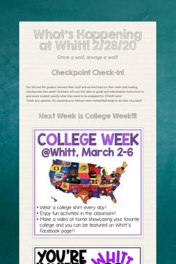 What's Happening at Whitt! 2/28/20