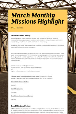 March Monthly Missions Highlight