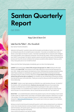 Santan Quarterly Report