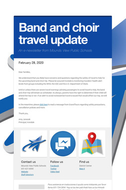 Band and choir travel update