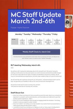 MC Staff Update March 2nd-6th