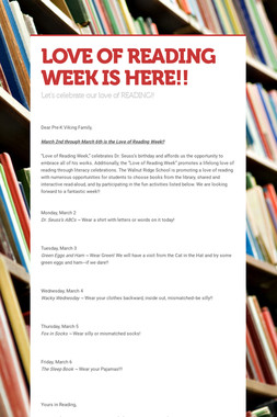 LOVE OF READING WEEK IS HERE!!