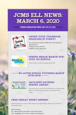 JCMS ELL News: March 6, 2020