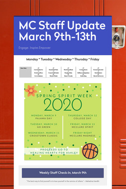MC Staff Update March 9th-13th