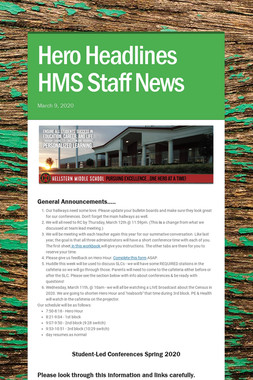 Hero Headlines HMS Staff News