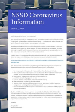 NSSD Coronavirus Information