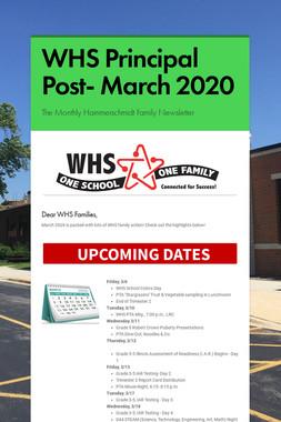 WHS Principal Post- March 2020