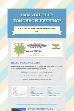 Can You Help Tomorrow Evening?