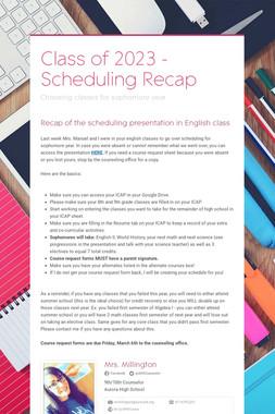 Class of 2023 - Scheduling Recap