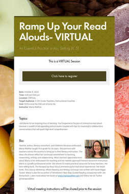 Ramp Up Your Read Alouds- VIRTUAL