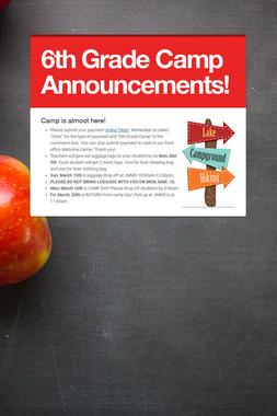 6th Grade Camp Announcements!