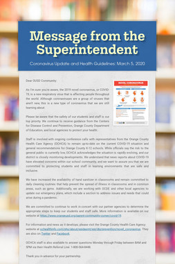 Message from the Superintendent