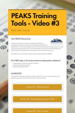 PEAKS Training Tools - Video #3