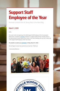 Support Staff Employee of the Year