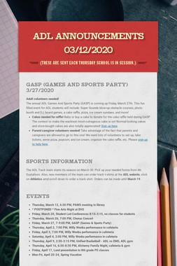 ADL Announcements 03/12/2020