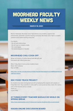Moorhead Faculty Weekly News