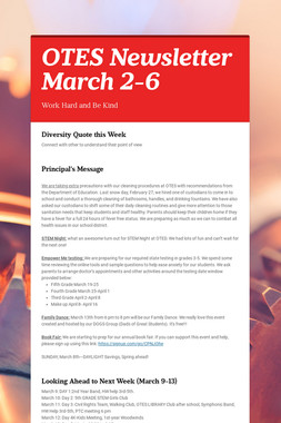 OTES Newsletter March 2-6