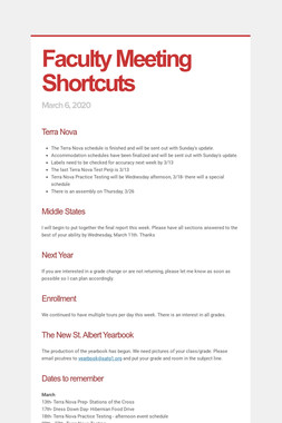 Faculty Meeting Shortcuts