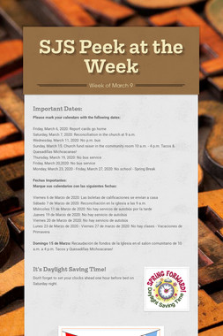 SJS Peek at the Week