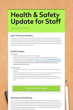 Health & Safety Update for Staff