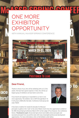 ONE MORE EXHIBITOR OPPORTUNITY