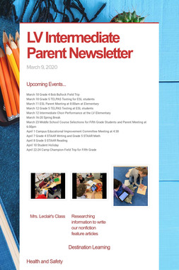 LV Intermediate Parent Newsletter