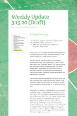 Weekly Update 3.15.20 (Draft)