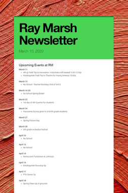 Ray Marsh Newsletter