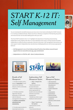 START K-12 IT:  Self Management