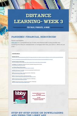 Distance Learning- WEEK 3