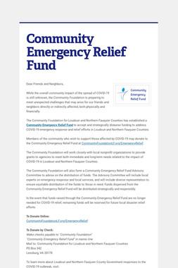 Community Emergency Relief Fund