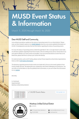 MUSD Event Status & Information