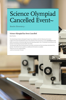 Science Olympiad Cancelled Event~