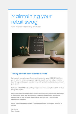 Maintaining your retail swag