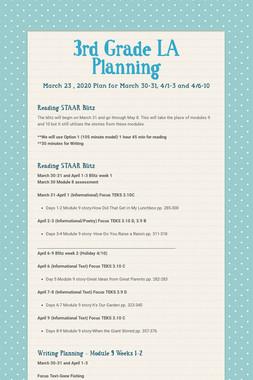3rd Grade LA Planning