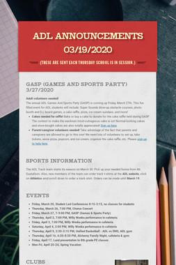 ADL Announcements 03/19/2020