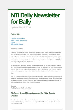 NTI Daily Newsletter for Bally