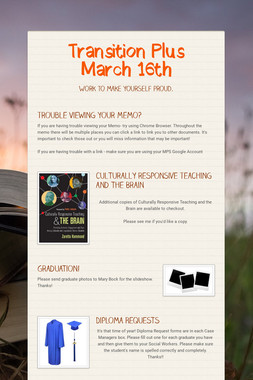 Transition Plus  March 16th