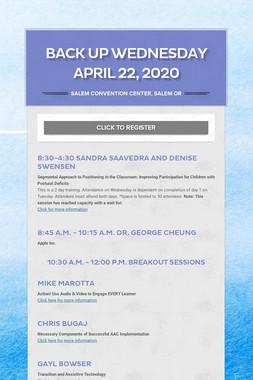 Back up WEDNESDAY APRIL 22, 2020