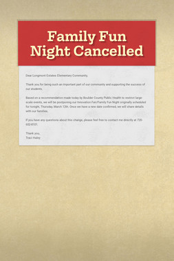 Family Fun Night Cancelled