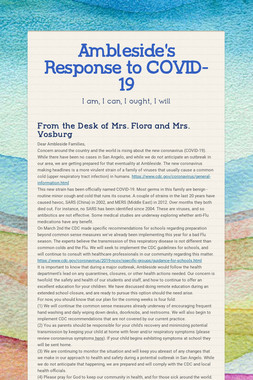 Ambleside's Response to COVID-19