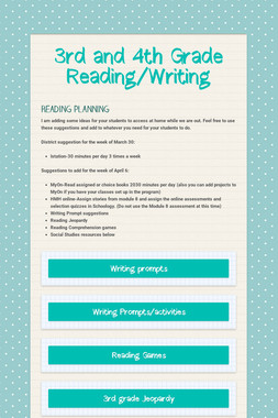 3rd and 4th Grade Reading/Writing