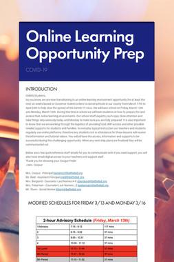 Online Learning Opportunity Prep