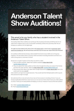 Anderson Talent Show Auditions!