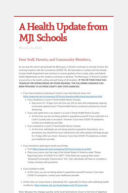 A Health Update from MJ1 Schools